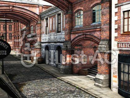 古いロンドンの街並みの風景のイラスト