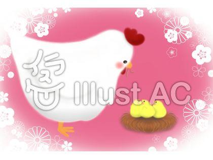 ニワトリとヒヨコ(ピンク系)