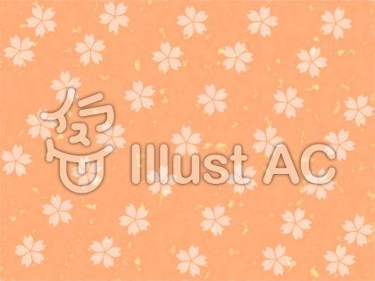 白い桜柄 オレンジ背景