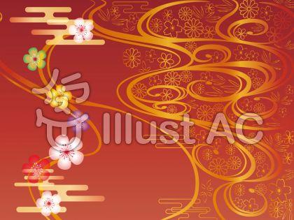 和柄フレーム赤と金の背景
