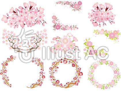 春花桜さくらサクラブーケフレーム花束背景