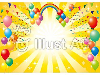 虹風船バルーン紙吹雪紙ふぶき背景素材壁紙