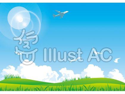 入道雲野原飛行機かもめ青空丘野原背景壁紙