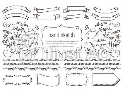 手描きの素材023 リボンとラインセット