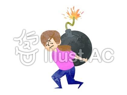 爆弾を背負う女性