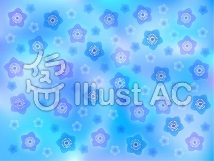 桃の花(背景・ブルー)