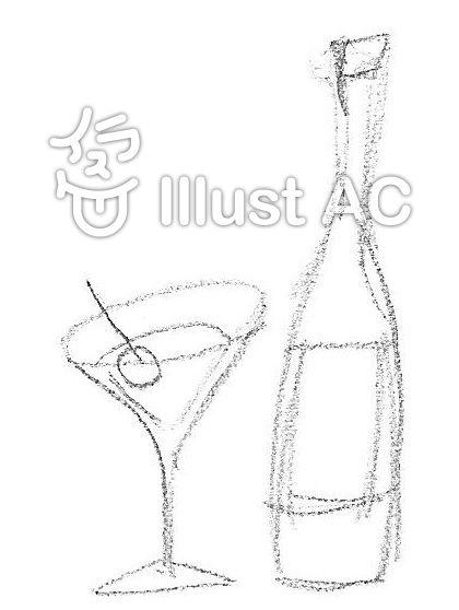 お酒 ワイン カクテル 鉛筆描き