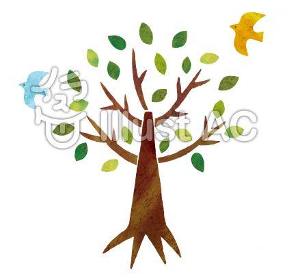 油彩風の木
