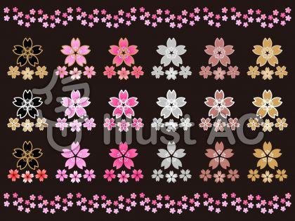 さくらの花セットC(黒背景)