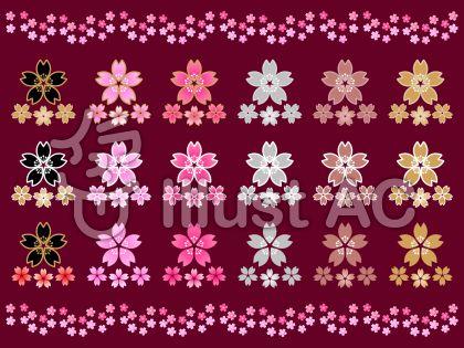 さくらの花セットC(葡萄色背景)
