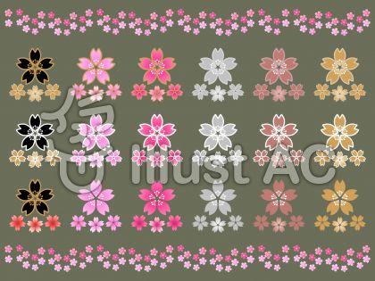 さくらの花セットC(岩井茶背景)