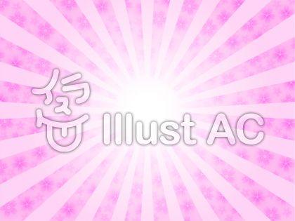太陽と桜の花イメージ(ピンク・はっきり)