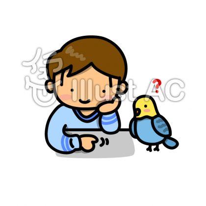 青いインコと男の子のイラスト
