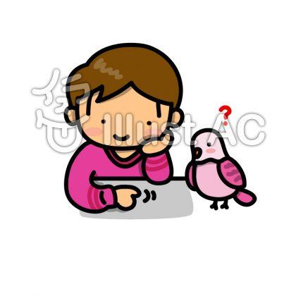 ピンクのインコと男の子のイラスト