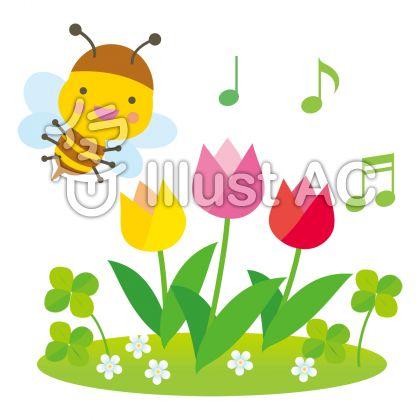 チューリップとミツバチの春