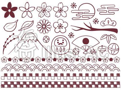 ゆるっと和風の手描きセット