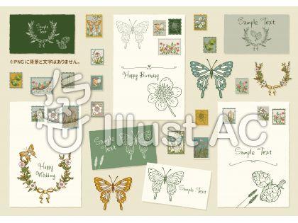 切手と蝶のフレーム