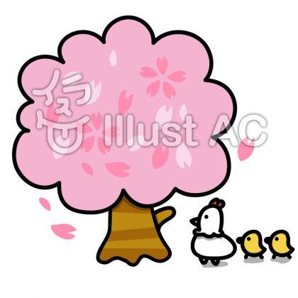 にわとりの親子:桜の木の下で
