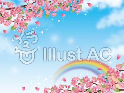 春の空と桜の枝のあるキラキラ風景素材03