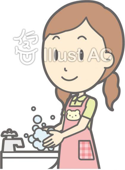 保育士女性-手洗い-バスト