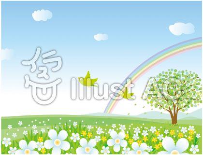 小鳥と虹と花咲く丘の風景