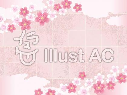 春の和紙と雲と桜のある背景素材01