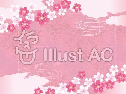 春の和紙と雲と桜のある背景素材02