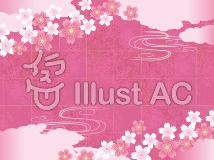 春の和紙と雲と桜のある背景素材03