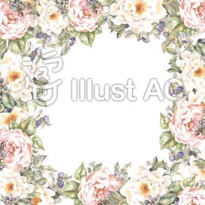 ブルーベリーとバラの花枠
