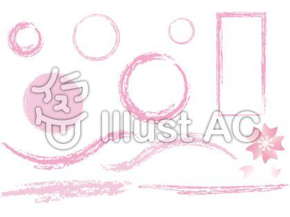 桜とピンクの枠セット