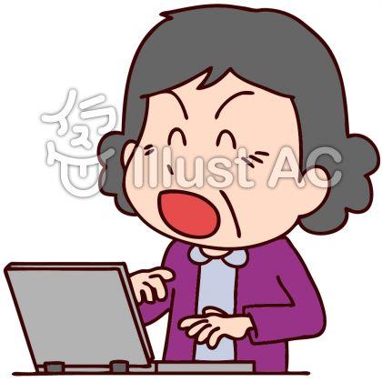パソコンを使う中年女性のイラスト