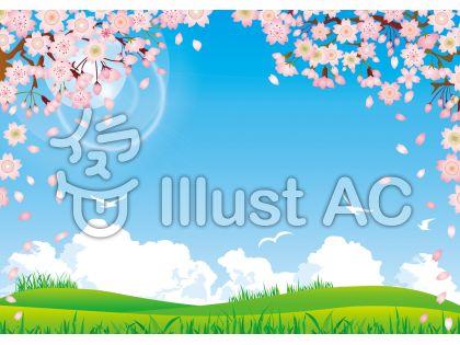 桜さくらサクラ春花芝生青空草太陽野原背景