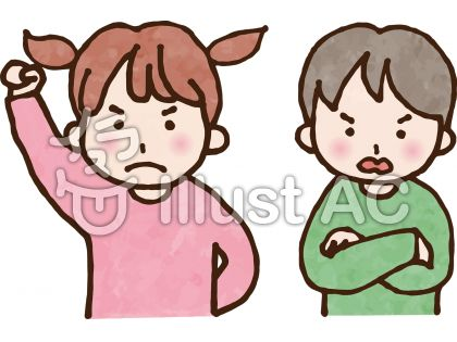 怒っている女の子と男の子