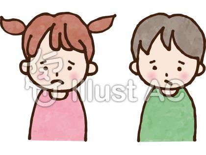 しょんぼりしている女の子と男の子