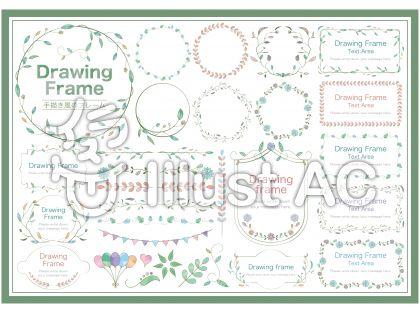 手描き風の花のフレームSET