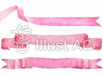 ピンク色のリボンの水彩画のセット