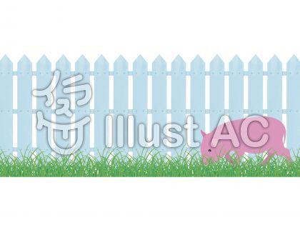 リアルなガーデニング柵と草と豚