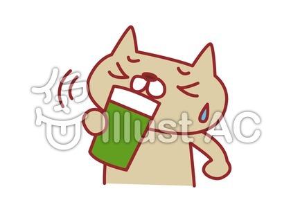 野菜ジュースを飲む猫