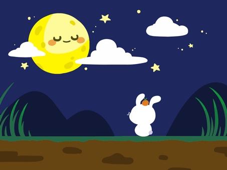 中秋应景-可爱的月亮与兔