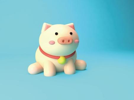 3D cute pig model
