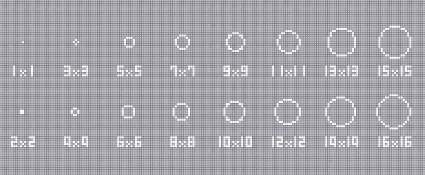円の描きかた【1×1~16×16】