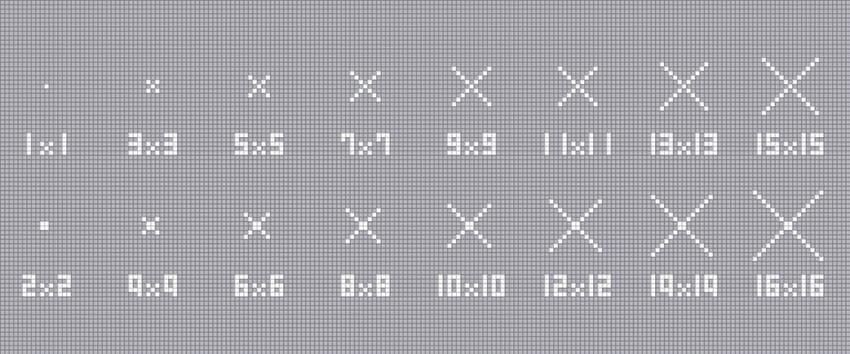 ×の描きかた【1×1~16×16】