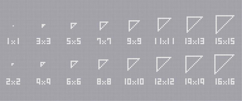 三角形の描きかた パターン2【1×1~16×16】一点が直角になっている三角形です。 描く角度が変われば、描ける最小サイズも変わります。