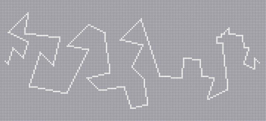 先ほどの斜線の規則性を参考にしつつ一本に繋がったジグザグな線を描いてみました。