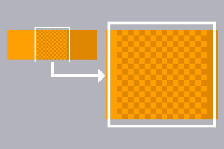 画像ではオレンジと茶色のドットをメッシュすることで、その中間色を表現しています。これで、もう1色増えたように見せることができます。