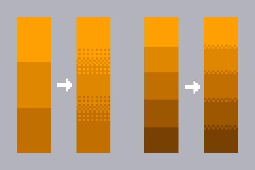 幅やドットの規則性を変えることによって、グラデーションを表現することが可能です。メッシュの使用範囲によっても印象がかわります。