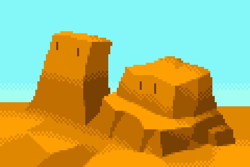 メッシュをかけることによって、色の境界がなめらかになりました。  この技法は、家庭用ゲーム機だけでなく80年代のパソコンゲームのグラフィックでも多用されていました。