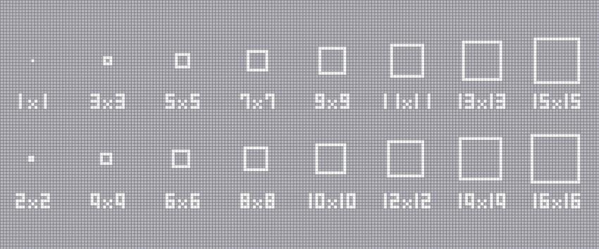 四角形の描きかた【1×1~16×16】