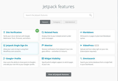 The new Ui for Jetpack has a search bar