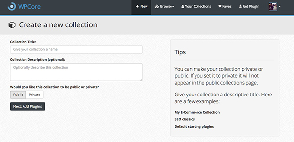 The New plugin collection screen